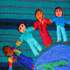 Language, Literacy, and Sociocultural Studies Program, tapestry with children from different countries holding hands standing around the Earth