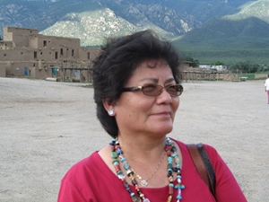 Dr. Daisy Thompson, director of Indian Education for Albuquerque Public Schools and creator of APS' Indian Education Plan, visiting the Taos Pueblo.